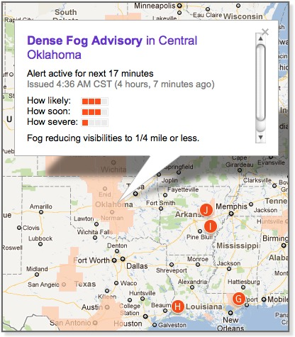 Image of Dense Fog Advisory in Central Oklahoma